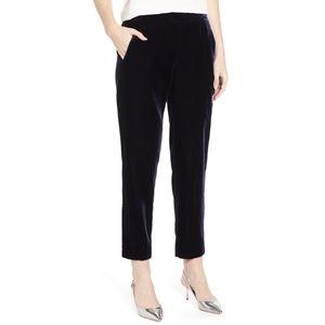J. Crew velvet trouser pull on pant black cropped